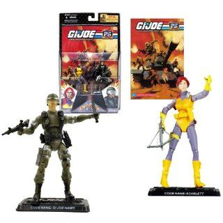 Hasbro Year 2007 G.I. JOE 25th Anniversary Comic Pack Series 2 Pack 4 Inch Tall Action Figure   SCARLETT with Crossbow and GI JOE HAWK with Rifle and Gun Plus 2 Display Base and Comic Book Toys & Games