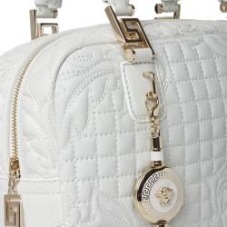 Versace 'Vantias' Quilted White Leather Satchel Bag Versace Designer Handbags