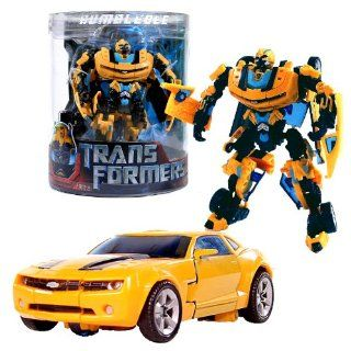 Hasbro Year 2007 Transformers Movie Series 1 Exclusive Canister Deluxe Class 6 Inch Tall Robot Action Figure   Autobot BUMBLEBEE with Cannon that Converts to Blade (Vehicle Mode: Camaro Concept): Toys & Games