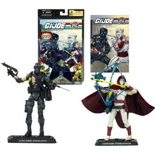 Hasbro Year 2007 G.I. JOE 25th Anniversary Comic Pack Series 2 Pack 4 Inch Tall Action Figure   SNAKE EYES with Assault Rifle, Knife, Bag and STORM SHADOW with Bow, Quiver, 2 Katana Swords Plus 2 Display Base and Comic Book Toys & Games