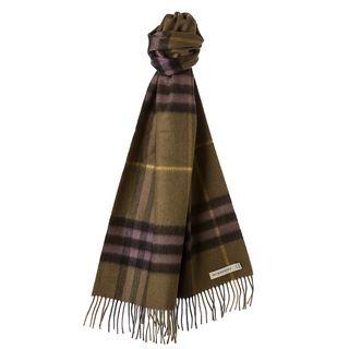 Burberry Khaki/ Green Check Cashmere Scarf Burberry Designer Scarves & Wraps