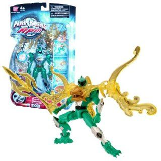 Bandai Year 2009 Power Rangers RPM Auxiliary Trax 5 1/2 Inch Tall Action Figure with 3 Transformation Modes   Shark Guardian with Green Ranger Plus Weapon and Accessories Toys & Games