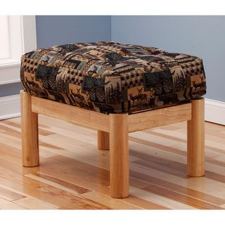 Aspen Ottoman Lodge Natural Frame with Peter's Cabin Cushion Ottomans