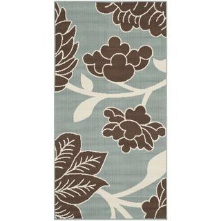 Safavieh Indoor/ Outdoor Hampton Light Blue/ Brown Rug (2'7 x 5') Safavieh 3x5   4x6 Rugs