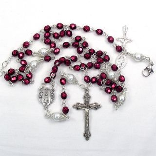 Cranberry crystal 6mm Catholic Wedding Jewelry Set Jewelry Sets
