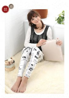 Newspaper Print Leggings, White , One size   59 Seconds