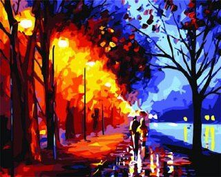Love in Autumn rain street Acrylic (2013 New DIY paint by number 16*20'' kit) Arts, Crafts & Sewing