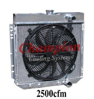"""3 Row All Aluminum Replacement Radiator AND 16"""" Reversible Fan for 1967 70 Ford Mustang, 1963 69 Ford Fairlane, 1966 70 Ford Falcon, 1964 68 Ford Galaxie, 1964 68 Ford Country Sedan or Squire, 1967 68 Ford LTD, 1968 69 Ford Torino, 1967 68 Mercury Cou"""