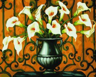 """Dart & Art Paintworks Paint By Numbers for Adults and Kids, Make Your Own """" Golden Calla Lily """" with this DIY Painting by Numbers Kits, Dimensions 20""""x16"""", Package with 3 Painting Brushes Home & Kitchen"""