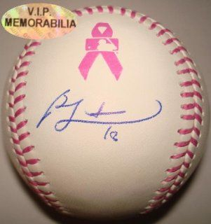 Autographed Ben Zobrist Baseball   2013 Mothers Day Pink Ribbon Breast Cancer Official Major League   Autographed Baseballs: Sports Collectibles