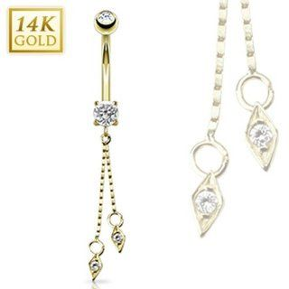 "14 Karat Solid Yellow Gold CZ Prong Navel Belly Button Ring with Dangle   14GA 3/8"" Long: West Coast Jewelry: Jewelry"