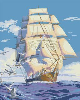 Sailing Ships acrylic (2013 New DIY paint by number 16*20'' kit) Arts, Crafts & Sewing