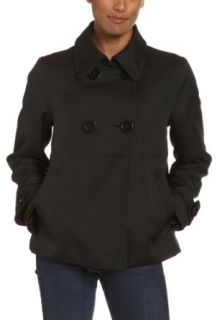 Jones New York Women's Pique Waffle Weave Double Breasted Jacket with Sleeve Tab, Black, Small: Clothing