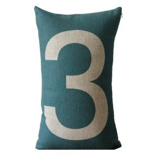 Green Front Giant Number 3 Print Rectangular Throw Pillow Covers 30CMx45CM Decorative Pillow Covers Linen Lumbar Cushions