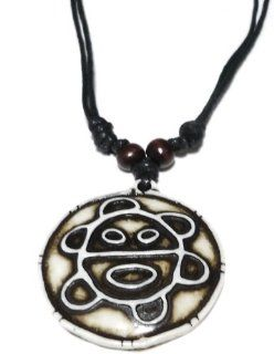 Taino Sun Necklace   Taino Symbol   Indian Sun Necklace   Jewelry   Adjustable Black Cord   Colors of the Bendant: Bone White/black: Everything Else