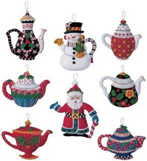 "Mary Engelbreit Christmas Tea Pots Ornaments Felt Applique K 5""X5"" Set Of 8: Everything Else"