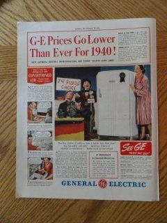 1940 General Electric Refrigerator, Vintage 40's full page print ad. Color Illustration (refrigerator/blue ribbon)Original vintage 1940 Collier's Magazine Print Art.: Everything Else