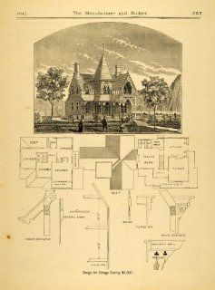 1874 Print Victorian Cottage Architecture Design Floor Plan Sketch House Balcony   Original Halftone Print