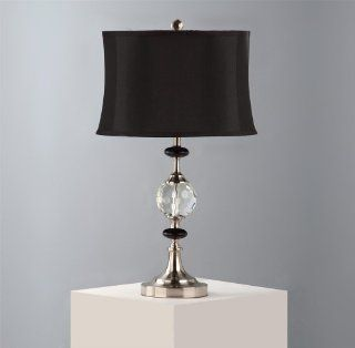 Nova Lighting Regent Arms Table Lamp  Black Lamp Shade with Clear Crystal and Resin Accent and Silver Base, Elegant Modern Lamps