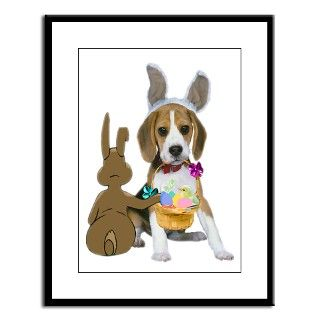 Beagle Easter Egg Hunt Large Framed Print by friskybizpets