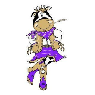"6"" Printed color cartoon cow dancing purple sticker decal for any smooth surface such as windows bumpers laptops or any smooth surface.: Everything Else"