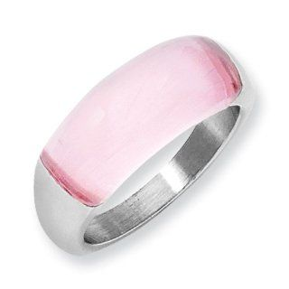 Breast Cancer Awareness Stainless Steel 8mm Pink Cat's Eye Ring: Jewelry