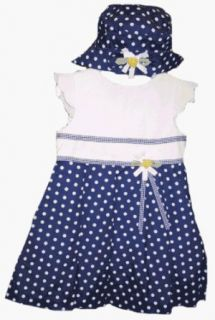Little Bitty Navy Polka Dot Dress for Toddler Girls: Clothing