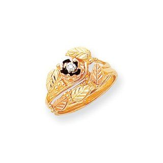 10k Tri color Gold Black Hills Gold Diamond Antiqued Bridal Set Rings: Jewelry