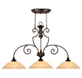 Savoy House 1P 50208 3 16 Island Light with Amber Glass Shades, Antique Copper Finish   Close To Ceiling Light Fixtures