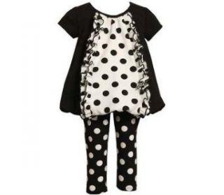 Bonnie Jean Girls Mixed Dot Bubble Dress Outfit Set , Black / White , 2T Clothing