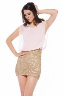 AX Paris Women's Sequin Skirt Dress With Chiffon Top: Clothing