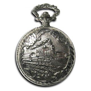 Pocket Watch Locomotive Railroad Conductor's Train  Silver Tone: Jewelry