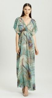 Demeter Surplice Empire Waist Maxi   Dr 958 (XS, Turquoise/Purple) at  Women�s Clothing store