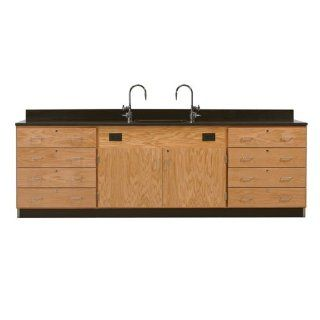 """Diversified Woodcrafts 3246K Solid Oak Wood Wall Service Bench with Drawer Cabinet, Epoxy Resin Top, 108"""" Width x 36"""" Height x 24"""" Depth Industrial & Scientific"""