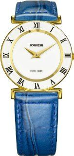 Jowissa Women's J2.102.M Roma Colori 30 mm Gold PVD Blue Leather Roman Numeral Watch: Watches