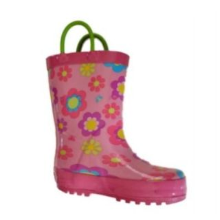 Circo Girls Pink Flower Rain Boots Galoshes Gardening Shoes: Shoes