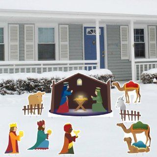 3 piece Outdoor Lighted Plastic Holy Family Nativity Set for Yard : Christmas Decor : Patio, Lawn & Garden