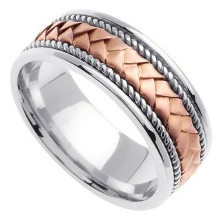Two Tone Braided Wedding Ring for Women (8mm): Jewelry