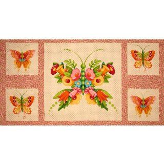 44'' Wide Mary Engelbreit Flutterby Panel Floral Butterfly Cream/Pink Fabric By The Panel Arts, Crafts & Sewing
