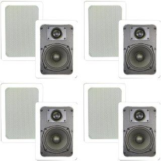 """Theater Solutions 4 Pair New 5.25"""" In Wall Surround Sound Home Theater Kevlar Speakers 1600 Watts 4TS50W Electronics"""