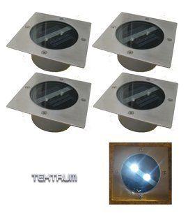 Tektrum Square Shape Long Hour Lighting Stainless Steel 2 LEDs Solar Deck/Path/Patio/Garden/Walkway Lights (Set of 8): Patio, Lawn & Garden