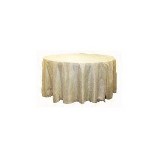 "Crushed Taffeta 132"" Round Tablecloth   Ivory"