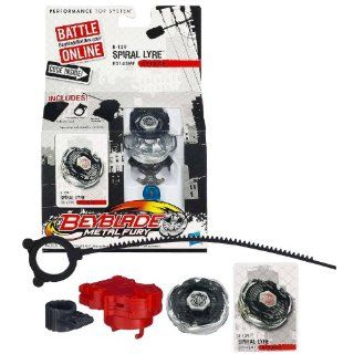Hasbro Year 2012 Beyblade Metal Fury Performance Battle Tops   Attack ED145MF B 139 SPIRAL LYRE with Face Bolt, Lyre Energy Ring, Spiral Fusion Wheel, ED145 Spin Track, MF Performance Tip and Ripcord Launcher Plus Online Code: Toys & Games