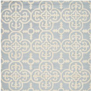 Safavieh Cambridge Collection CAM133A Handmade Wool Square Area Rug, 6 Feet, Light Blue and Ivory