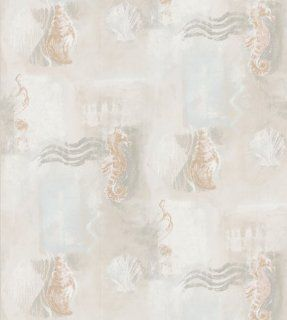 Brewster 137 43582 Kitchen Bath Bed Resource III Seahorses and Shells Wallpaper, 20.5 Inch by 396 Inch, Gray: Home Improvement