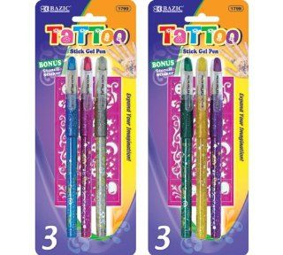 Bazic 3 Tattoo Gel Ink Pen with Stencil (Case of 144) : Technical Drawing Templates : Office Products