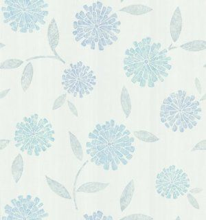 Brewster 141 62117 Zinnia Flower Wallpaper, White: Home Improvement