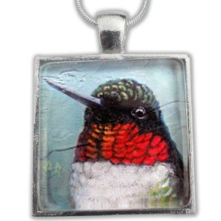 Silver Tile Glass Pendant with Ruby Throat Hummingbird Close: Allison Richter: Jewelry