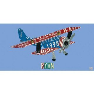 Oopsy daisy License Plate Plane Canvas Wall Art by Aaron Foster, 36x18 in: Baby