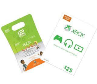 Xbox Live 12 Month Gold + $25 Xbox Gift Card [Online Game Code]: Video Games